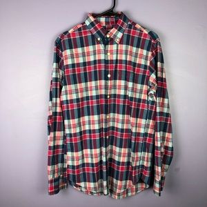 NWT J. Crew Summer Plaid Red and Blue Button Down